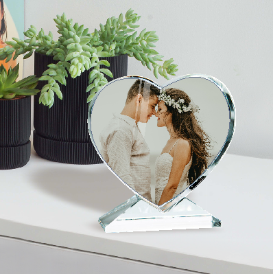 Glasblock Herz mit Foto zum Muttertag