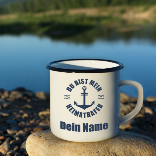 """Boots-Tasse """"Heimatshafen"""" mit deinem Namen"""