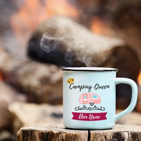 """Camping-Tasse """"Camping Queen"""" mit deinem Namen"""
