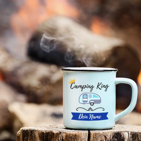 """Camping-Tasse """"Camping King"""" mit deinem Namen"""