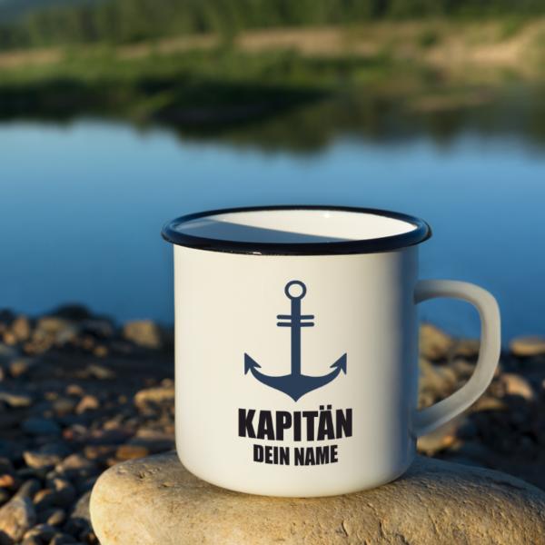 """Boots-Tasse """"Kapitän"""" mit deinem Namen"""